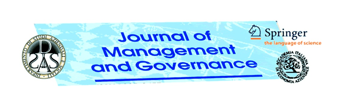 Journal of Management and Governance –  on line direttamente dal sito AIDEA