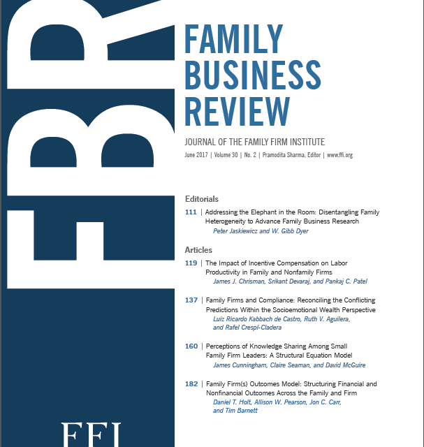 Call For Papers FAMILY BUSINESS REVIEW SPECIAL ISSUE ON PSYCHOLOGICAL FOUNDATIONS OF MANAGEMENT IN FAMILY FIRMS